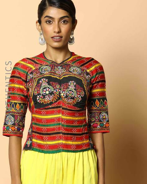 Kutch Embroidered Backless Blouse By Indie Picks ( Multi ) - 460103688001