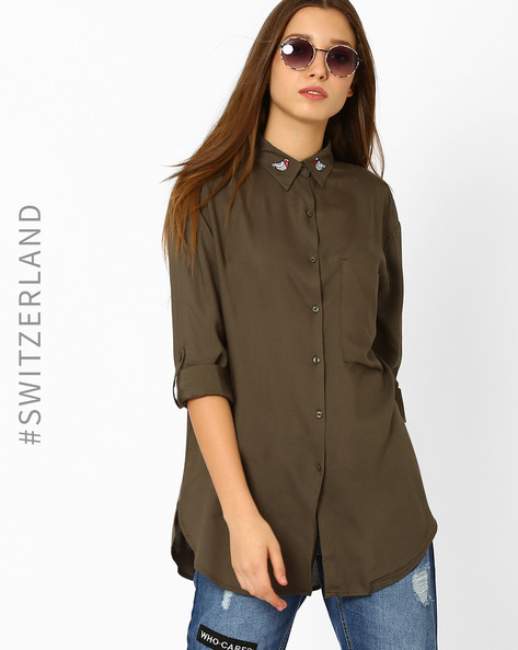 Shirt With Patch Pocket By TALLY WEiJL ( Green )