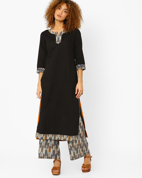Straight Kurta With Contrast Detail By AJIO ( Black )