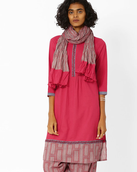 Panelled Kurta With Dupatta By AJIO ( Red )
