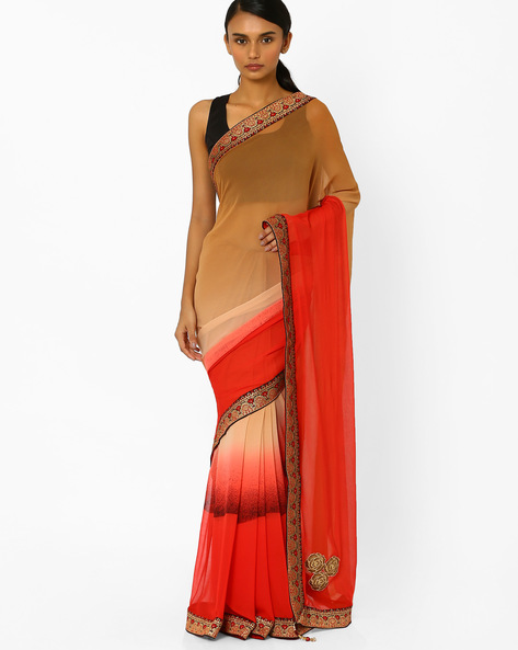 Ombre-Dyed Saree With Contrast Border By Akoya ( Beige )