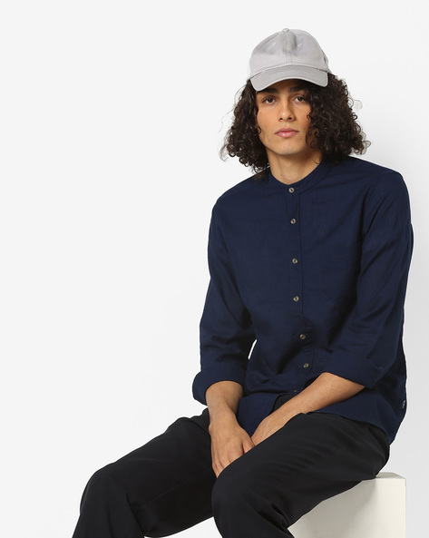 Cotton Shirt With Band Collar By Pepe Jeans ( Navy )