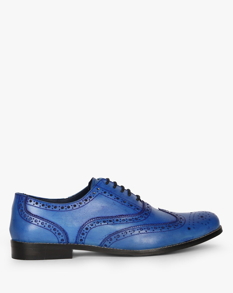 Hand-Finished Genuine Leather Semi-Brogues By Hats Off Accessories ( Blue )