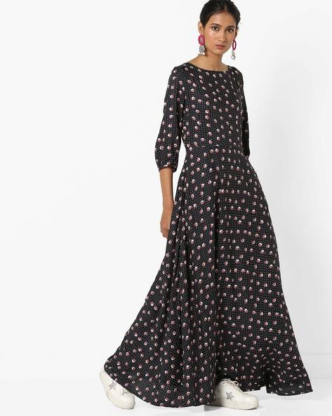 Floral Print Fit & Flare Dress By Femella ( Black )