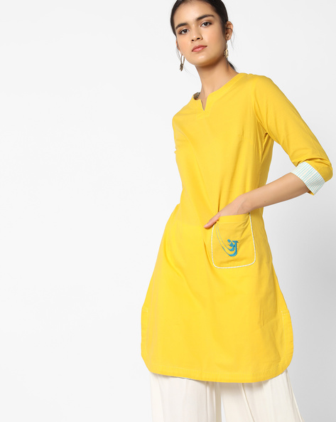 Straight Kurta With Embroidered Patch Pocket By AJIO ( Olive )