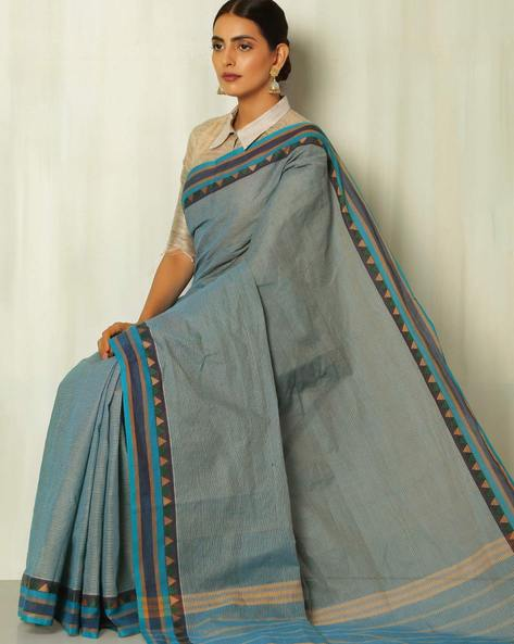 Checked Kanchi Cotton Saree With Woven Border By Indie Picks ( Blue )