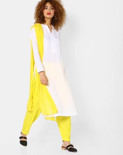 Chiffon Dupatta With Embellished Tassels By PASLEI ( Yellow )