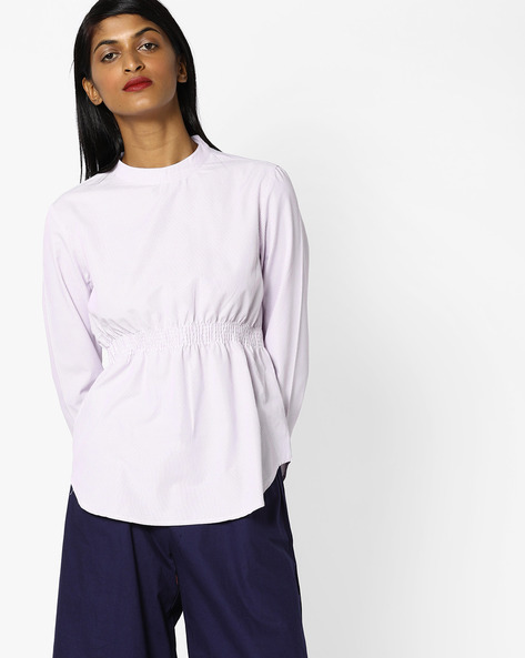 Striped Top With Ruching By AJIO ( Purple )