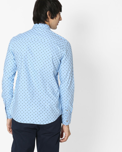 Printed Shirt With Patch Pocket By FLYING MACHINE ( White )