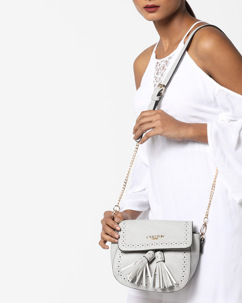 Sling Bag With Tassels By Carlton London ( Grey )