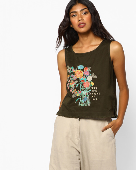 Embroidered Top With Frayed Vented Hem By AJIO ( Olive )