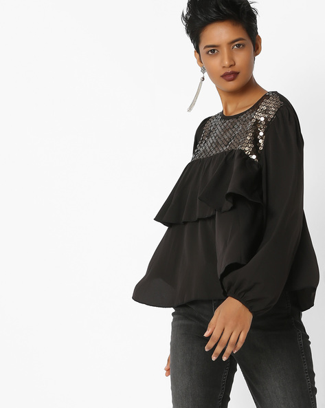 Ruffled Top With Sequin Embellishments By Rena Love ( Black )