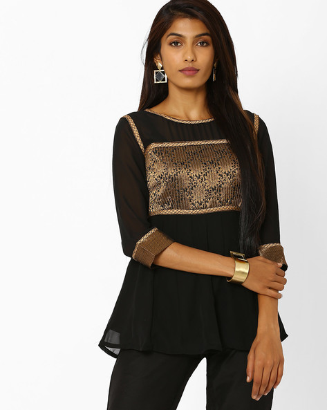 Flared Tunic With Embroidery By AJIO ( Black )
