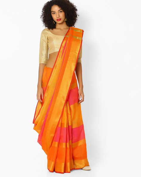 Self-Design Saree With Contrast Panels By Vastrangi ( Orange )