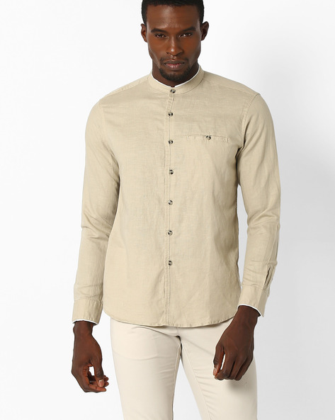 Regular Fit Shirt With Band Collar By NETPLAY ( Beige )