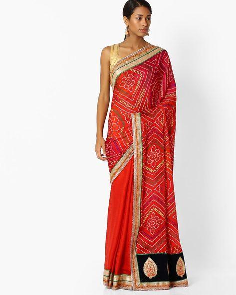 Bandhini Print Half & Half Saree By Shonaya ( Red )