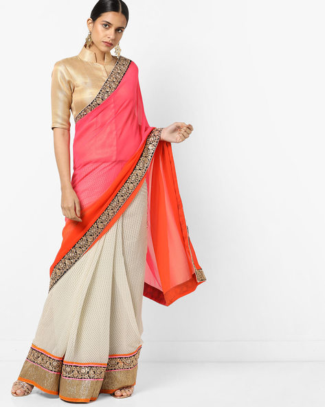 Chiffon Saree With Embroidered Border By Florence ( Orange )