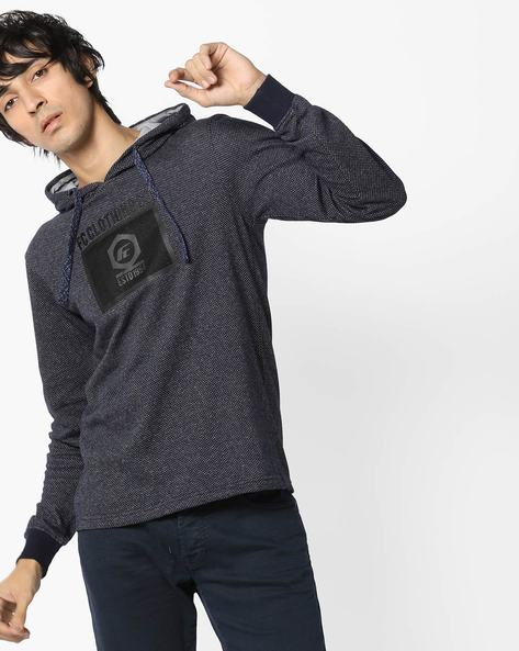 Hooded Cotton T-shirt By Fort Collins ( Navy )