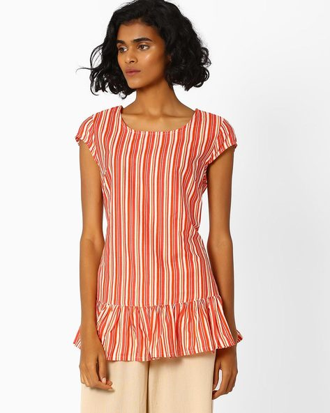 Striped Top With Ruffled Hemline By AJIO ( Coral )
