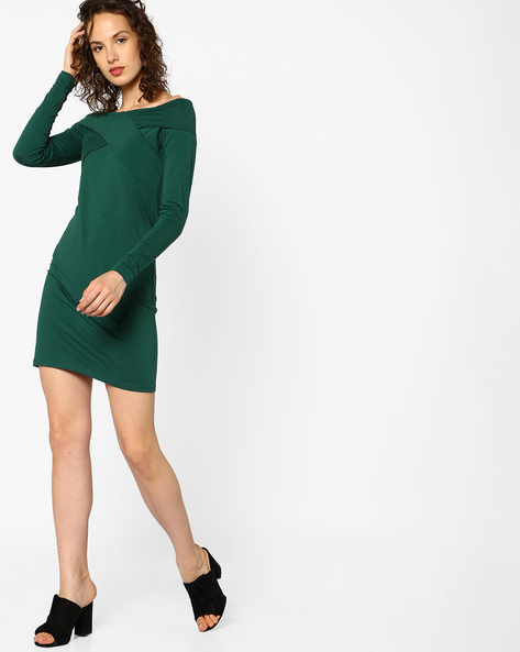 Bodycon Dress With Overlapping Panels By AJIO ( Green )