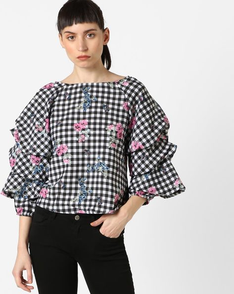 Checked Top With Ruffle Sleeves By Oxolloxo ( Multicolor )
