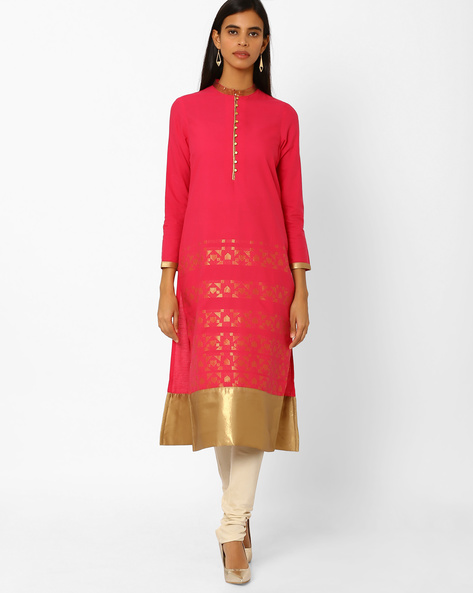 Pure Cotton Straight Kurta By W ( Pink )