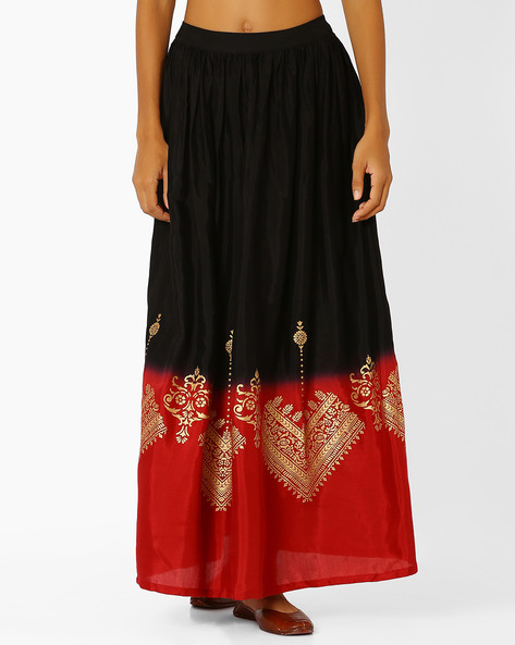 Colourblock Printed Maxi Dress By Global Desi ( Black )