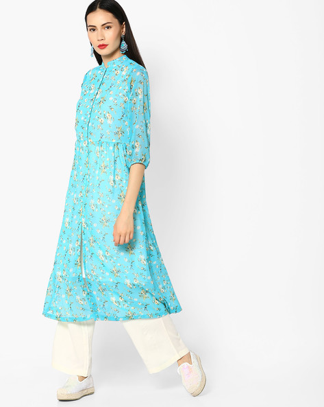 Floral Print Kurta With Front Slit By AYAANY ( Turquoise )