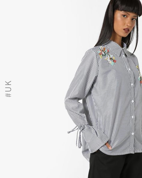 Shirt Top With Bell Sleeves By OEUVRE ( Black )