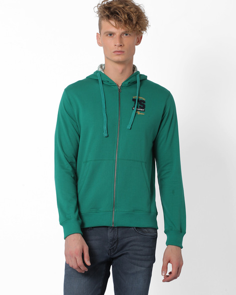 Regular Fit Hooded Sweatshirt With Front Zip By TEAM SPIRIT ( Dkgreen )