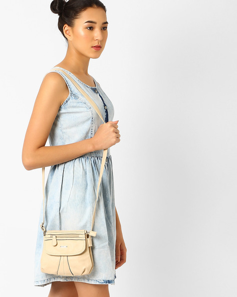 Panelled Sling Bag With Flap Closure By Lavie ( Beige )