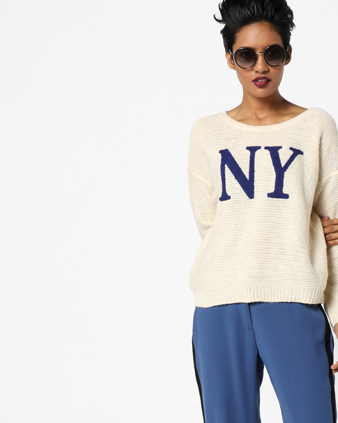 Crew-Neck Pullover With Ribbed Hems By DNMX ( Offwhite )