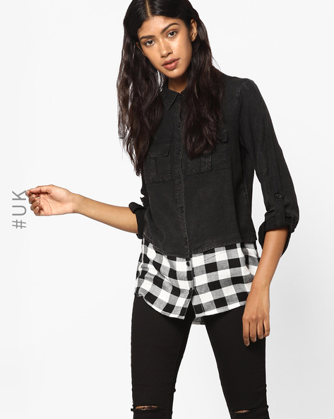 Layered Shirt With Checked Pattern By INFLUENCE ( Black )