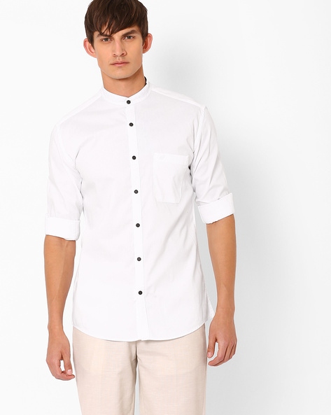 Cotton Slim Shirt With Mandarin Collar By Nature Casuals ( White )