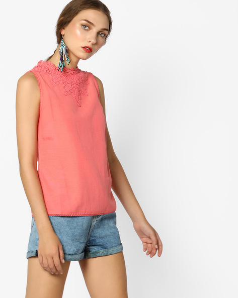 Sleeveless Top With Lace By CODE By Lifestyle ( Coral )