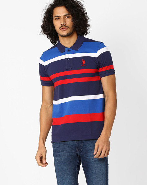 Striped Slim Fit Polo T-shirt By US POLO ( Blue ) - 460036537001