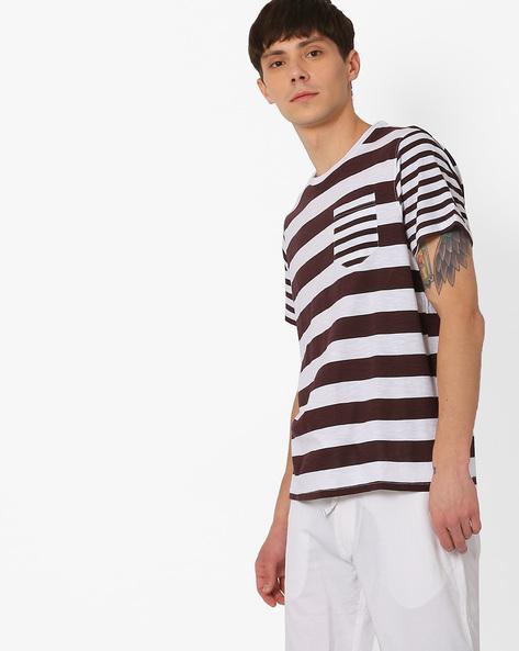 Striped Slim T-shirt With Patch Pocket By AJIO ( Maroon )