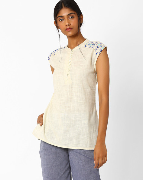 Tunic With Embroidered Shoulder Panels By AJIO ( Offwhite )