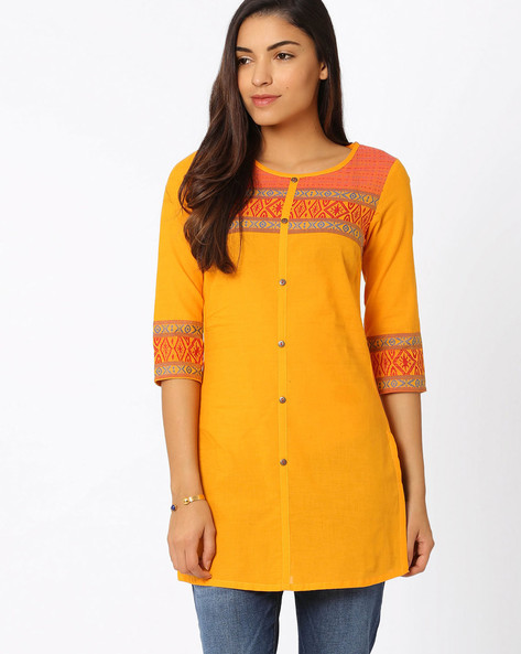 Kurti With Woven Design By AURELIA ( Yellow ) - 440656142003