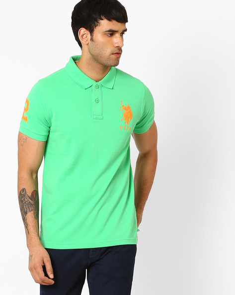 Slim Fit Polo T-shirt By US POLO ( Lightgreen )