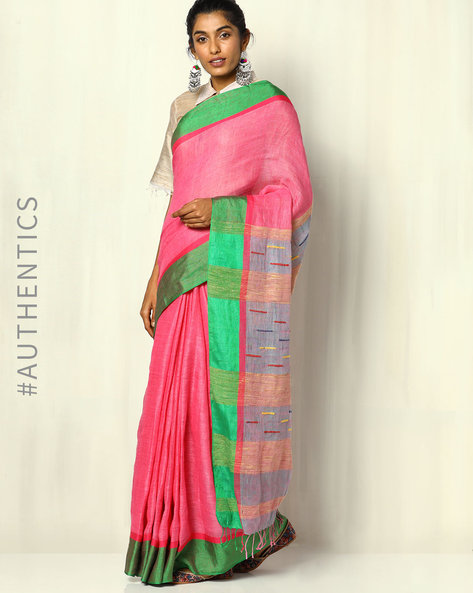 Handloom Pure Linen Saree With Fringes By Indie Picks ( Multi )