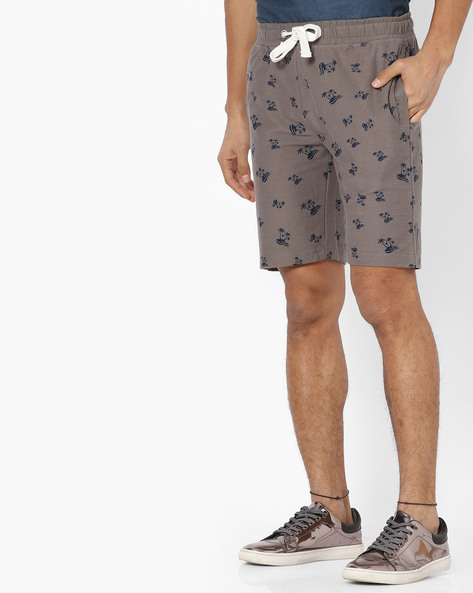 Printed Shorts With Drawstring Waist By Teamspirit ( Ltgrey )