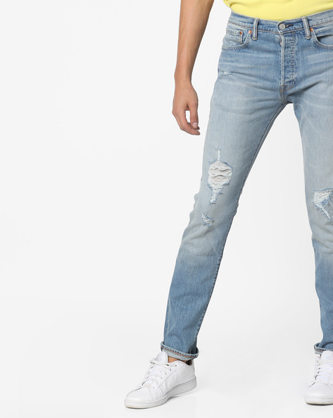501 Skinny Distressed Jeans By LEVIS ( Blue )