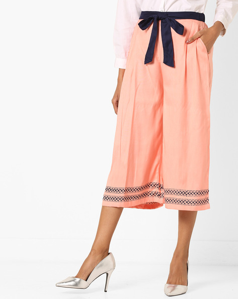 Pleated Culottes With Tie-up Belt By Bitterlime ( Peach )