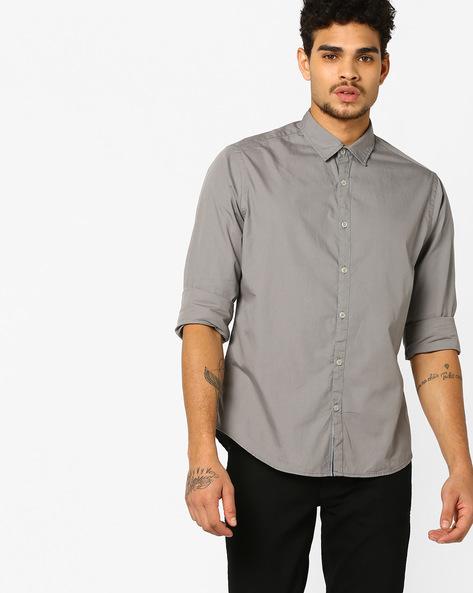Slim Fit Shirt With Spread Collar By AJIO ( Grey )