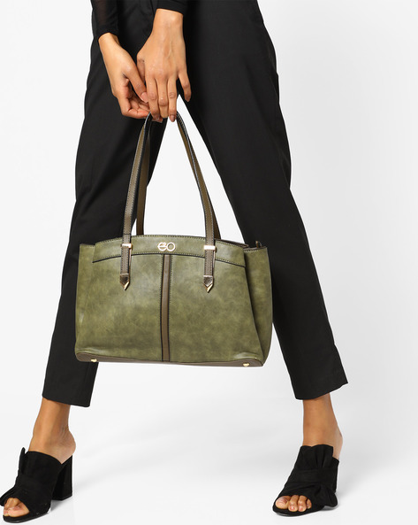 Satchel Bag With Short Handles By E2O ( Green )