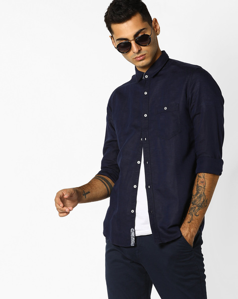 Slim Fit Shirt With Patch Pocket By Killer ( Navy )