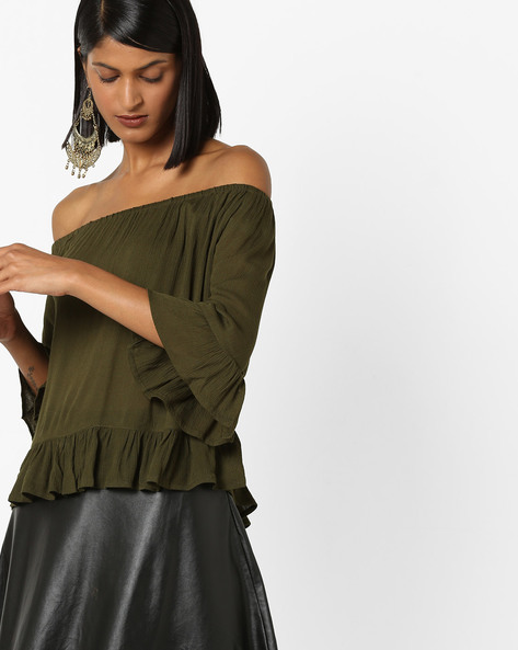 Off-Shoulder Top With Flared Sleeves By 20Dresses ( Olive )