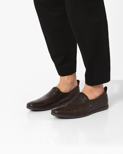 Leather Slip-On Formal Shoes By Lee Cooper ( Brown )