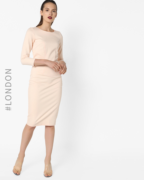 Bodycon Dress With Back-Zip By Closet London ( Pink )